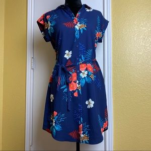 NWOT Express dark blue floral dress size Small